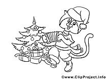 Chat dessin – Coloriage nouvel an à télécharger