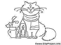 Chat image – Coloriage Nouvel illustration