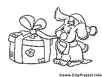 Chien cadeau clip art – Nouvel an image à colorier