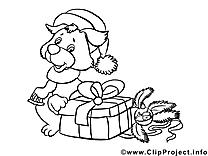 Chien cadeaux illustration – Nouvel an à imprimer