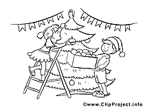 Décoration image à télécharger – Nouvel an à colorier