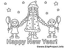 Enfants clipart gratuit – Nouvel an à colorier