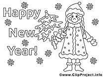 Femme dessin – Coloriage nouvel an à télécharger