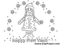 Femme flocons clip art gratuit – Nouvel an à imprimer
