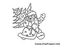 Père noël  dessin à télécharger – Sapin à colorier