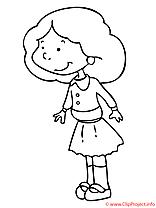 La fille a la robe coloriage