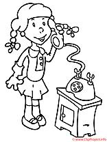La fille telephone xoloriage