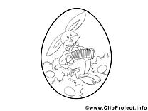 Accordéon lapin dessin – Pâques gratuits à imprimer