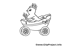 Charrette dessin à colorier - Pâques images