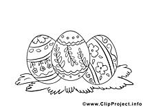 Clip art gratuit oeufs – Pâques à colorier