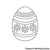 Clipart gratuit oeuf – Pâques à colorier