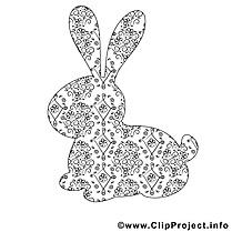 Coloriage lapin pâques illustration à télécharger
