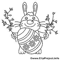 Coloriage lapin pâques image à télécharger