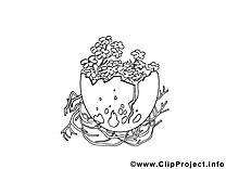 Coloriage nid pâques illustration à télécharger