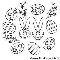 Décoration clip art gratuit – Pâques à colorier