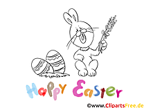Dessin gratuit lapin – Pâques à colorier