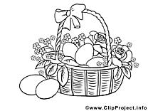 Dessin panier – Pâques gratuits à imprimer
