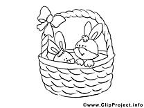 Dessins gratuits panier – Pâques à colorier