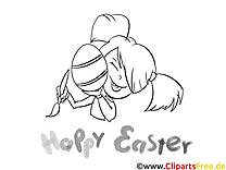 Fille dessin à télécharger – Pâques à colorier