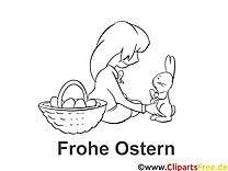 Fille lapin image gratuite – Pâques à colorier