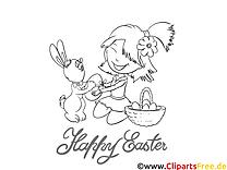 Fille lapin image gratuite – Pâques à imprimer