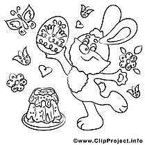 Gâteau dessin – Coloriage pâques à télécharger