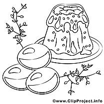 Gâteau dessin à télécharger – Pâques à colorier