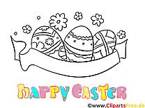 Joyeuse pâques illustration à imprimer