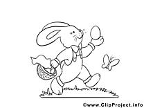 Lapin dessin à imprimer - Pâques clip arts gratuits
