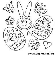 Lapin image gratuite – Pâques à colorier