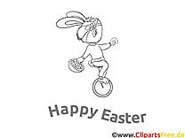 Monocycle lapin dessin gratuit – Pâques à colorier