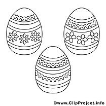 Oeufs image – Coloriage pâques illustration