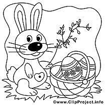 Panier clipart – Pâques dessins à colorier