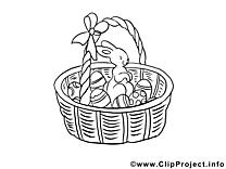 Panier clipart gratuit – Pâques à colorier