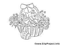Panier dessins gratuits – Pâques à colorier