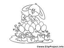 Peint image gratuite – Pâques à colorier