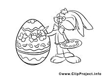 Peintre clip art gratuit – Pâques à colorier