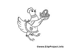 Poule dessin à télécharger – Pâques à colorier