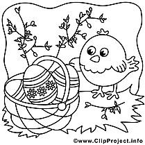 Poussin clipart gratuit – Pâques à colorier