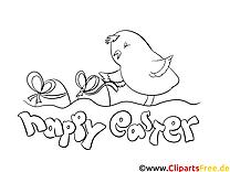Poussin dessin à télécharger – Pâques à colorier