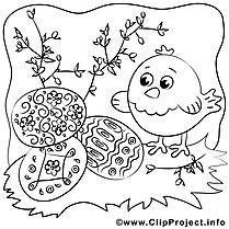 Poussin illustration – Pâques à imprimer