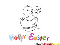 Poussin image – Pâques images à colorier