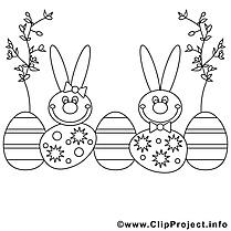 Saule clipart gratuit – Pâques à colorier