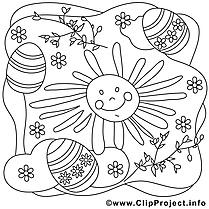 Soleil image à télécharger – Pâques à colorier