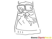 Chat lit clipart gratuit – Cartoons à colorier