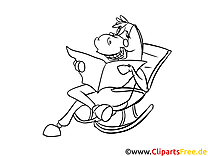 Coloriage cheval cartoons image à télécharger