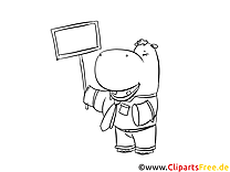 Hippopotame image à télécharger – Cartoons à colorier