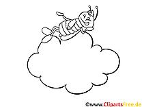 Nuage abeille clipart gratuit – Cartoons à colorier