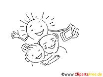 Selfie clip art – Cartoons image à colorier