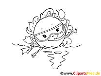 Soleil nage cliparts gratuis – Cartoons à imprimer